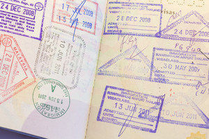 Close up Passport immigration Stamp