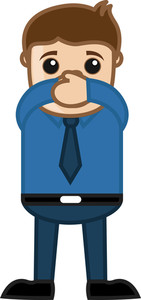 Close Your Mouth - Business Cartoon Character Vector