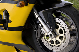 Closeup detail of a modern performance motorcycle.