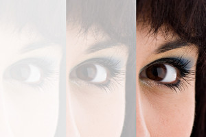 Closeup montage of an attractive young womans eye with copyspace.