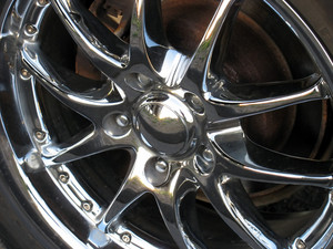 closeup of a chrome rim