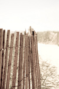 Closeup of a row of fencing at the beach.  Shallow depth of field.