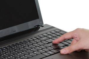 Closeup Of Business Woman Typing On Laptop Keyboard