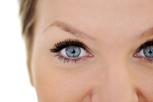 Closeup of female green eye