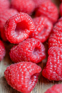 Closeup Of Fresh Picked Raspberries