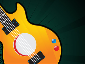 Closeup of guitar on green abstract background.