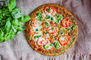 Closeup Of Homemade Vegetarian Pizza On Wooden Background