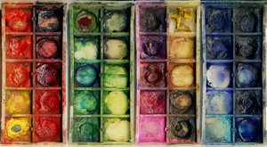 Closeup Of Old Used Paintbox-