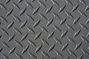 Closeup of real diamond plate metal material.