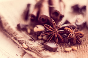 Closeup Of Star Anise And Cinnamon Sticks