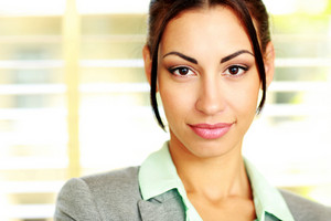 Closeup portrait of a cute young businesswoman