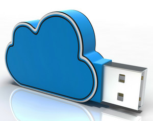 Cloud Computing Stick Shows Network Or Internet Storage