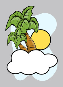 Cloud Island - Vector Cartoon Illustration