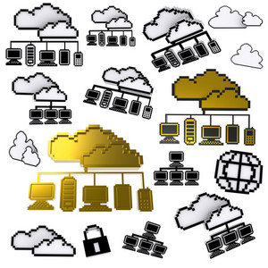 Cloud Network Pixel Icon