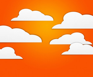 Clouds On Orange Background