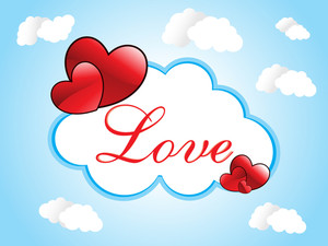 Cloudy Sky Background With Romantic Frame