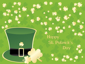 Clover Background With Leprechaun Hat