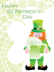 Clover Background With Leprechaun