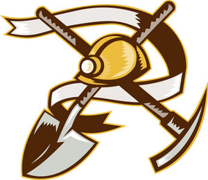Coal Miner Hardhat Spade Shovel Pickax