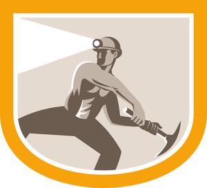 Coal Miner Wielding Pick Axe Shield Retro