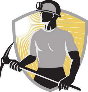 Coal Miner With Pick Ax Shield Retro