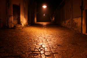 Cobblestone Street At Night