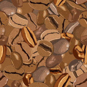 Coffee Beans Seamless Texture. Vector Illustration