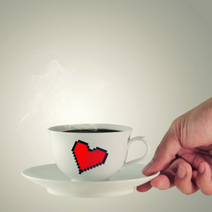 Coffee Cup With Pixel Hearth