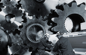 cogs and gears machinery with engineer