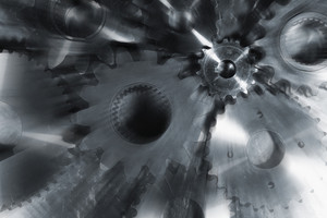 cogwheels and gears, zoom effect on background