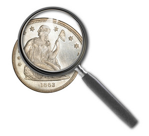 Coin Dollar And Magnifying Glass Isolated On White 2