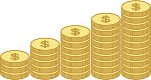 Coin Stacks - Profit And Saving Concept - Business Cartoons Vectors