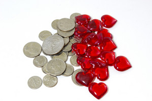 Coins And Heart Background