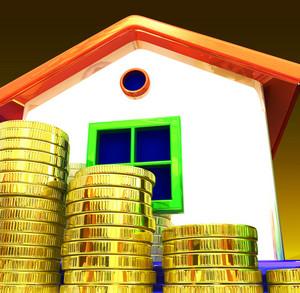 Coins Around House Shows Home Savings