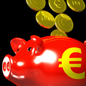 Coins Entering Piggybank Shows European Deposits
