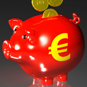 Coins Entering Piggybank Shows European Loans