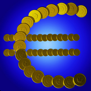 Coins Euro Symbol Shows European Sales