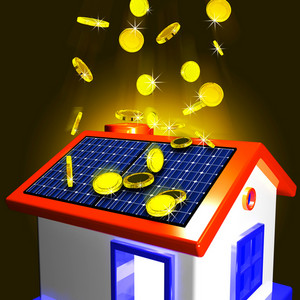 Coins Falling On House Showing Extra Money And Improved Economy