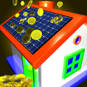 Coins Falling On House Showing Money Saving Or Monetary Advantages