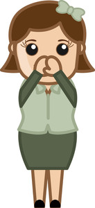 Cold In Office - Business Cartoon Character Vector