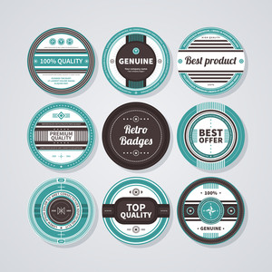 Collection Of 9 Round Badges In Retro Style. Eps10.