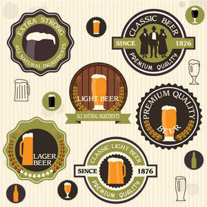 Collection Of Beer Badges And Labels In Vintage Style