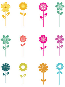 Collection Of Colorful Bloom With Background