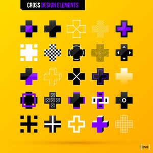 Collection Of Cross Design Elements On Bright Yellow Background. Eps10