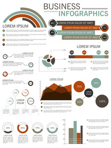 Collection of different business infographics elements for print