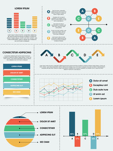 Collection of different infographics elements for business growth data presentation.