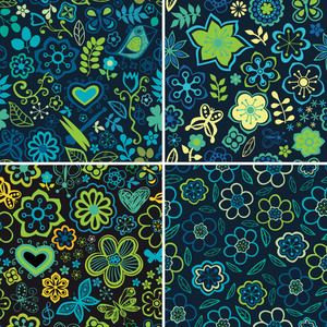 Collection Of Four Floral Patterns (seamlessly Tiling). Floral Patterns Set. Can Be Used For Wallpaper