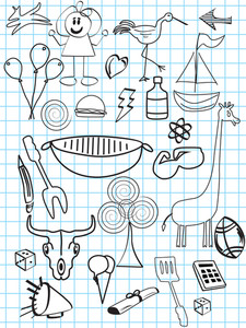 Collection Of Hand Drawn Icons With Background
