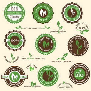 Collection Of Organic Labels und Symbole