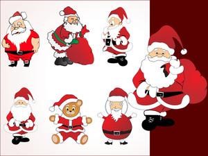Collection Of Santa In Different Pose